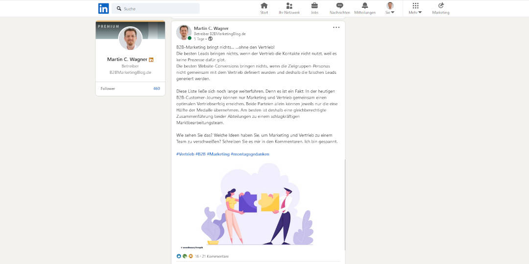 Screenshot Diskussion Marketing und Vertrieb