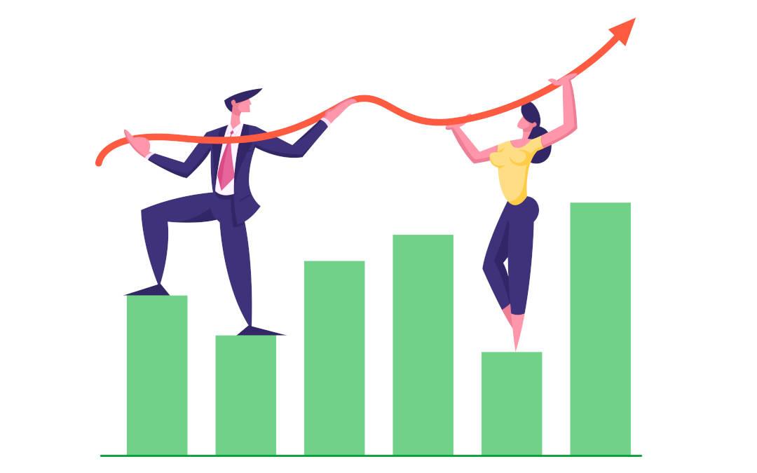Grafik: Marketing und Vertrieb steigern Erfolg © woodhouse/freepik